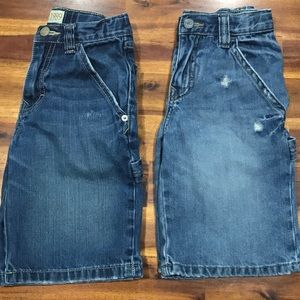 Pair of boys utility style, distressed shorts